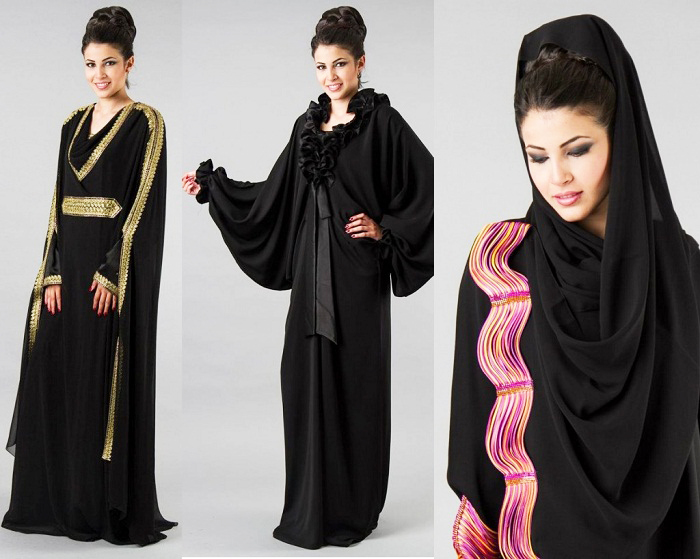 Golden and Pink Lace Black Designer abayas