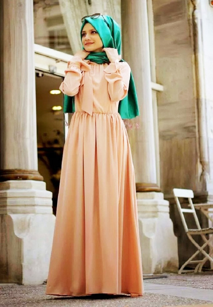 Green Hijab with Beige Designer Abayas