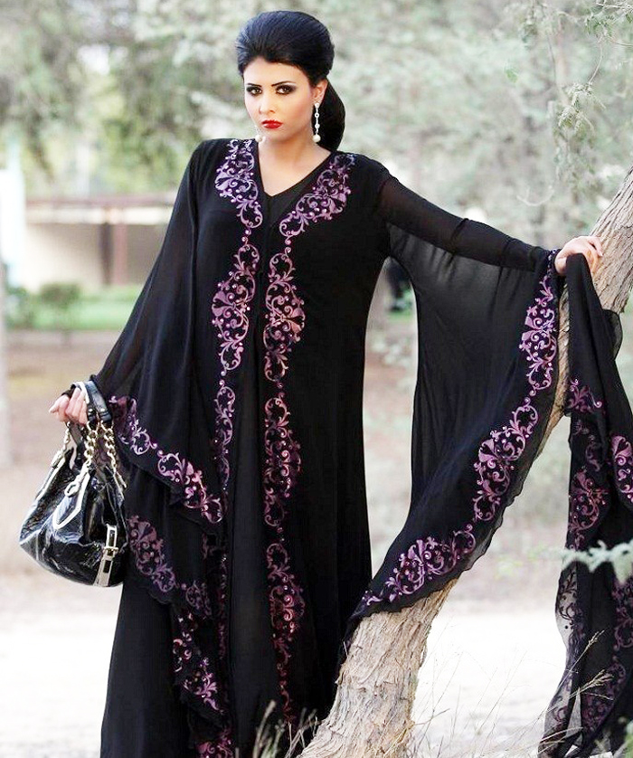 Pink Embroided Black Designer Abayas