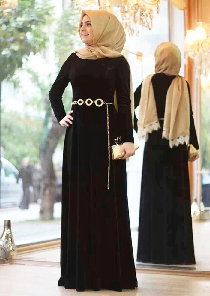 Dark Chocolate with White Chain Belt Designer Abayas