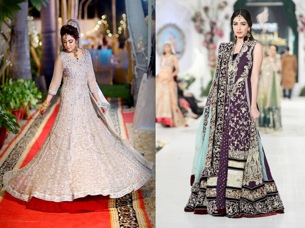 long frock style bridal walima dresses