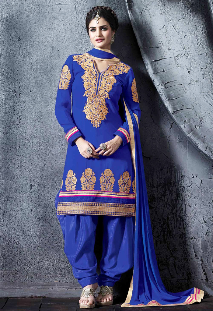 Graceful Royal Blue Patiala Shalwar Kameez 2016