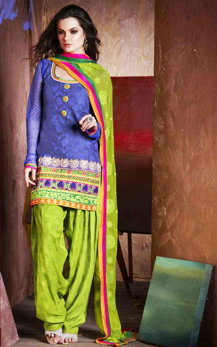 Traditional Blue and Green Pretty Patiala Shalwar Kameez 2016