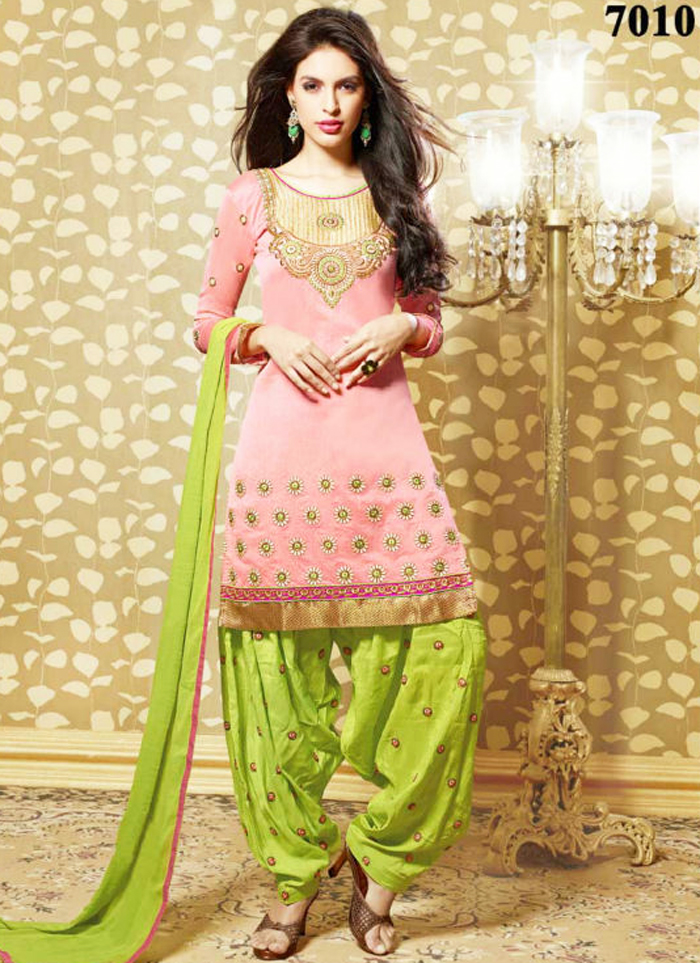 Pink and Green Patiala Shalwar Kameez for kitty Parties 2016