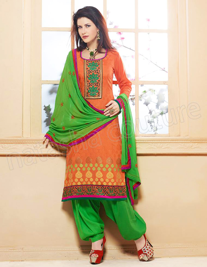 Orange and Green Graceful Shalwar Kameez