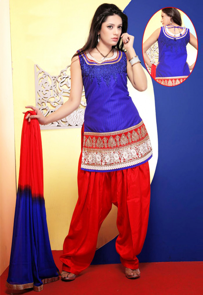 Royal Blue and blood red colored Stunning Shalwar Kameez