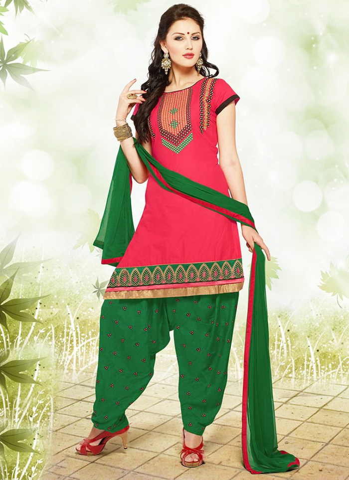 Pink and Green Patiala Apparel