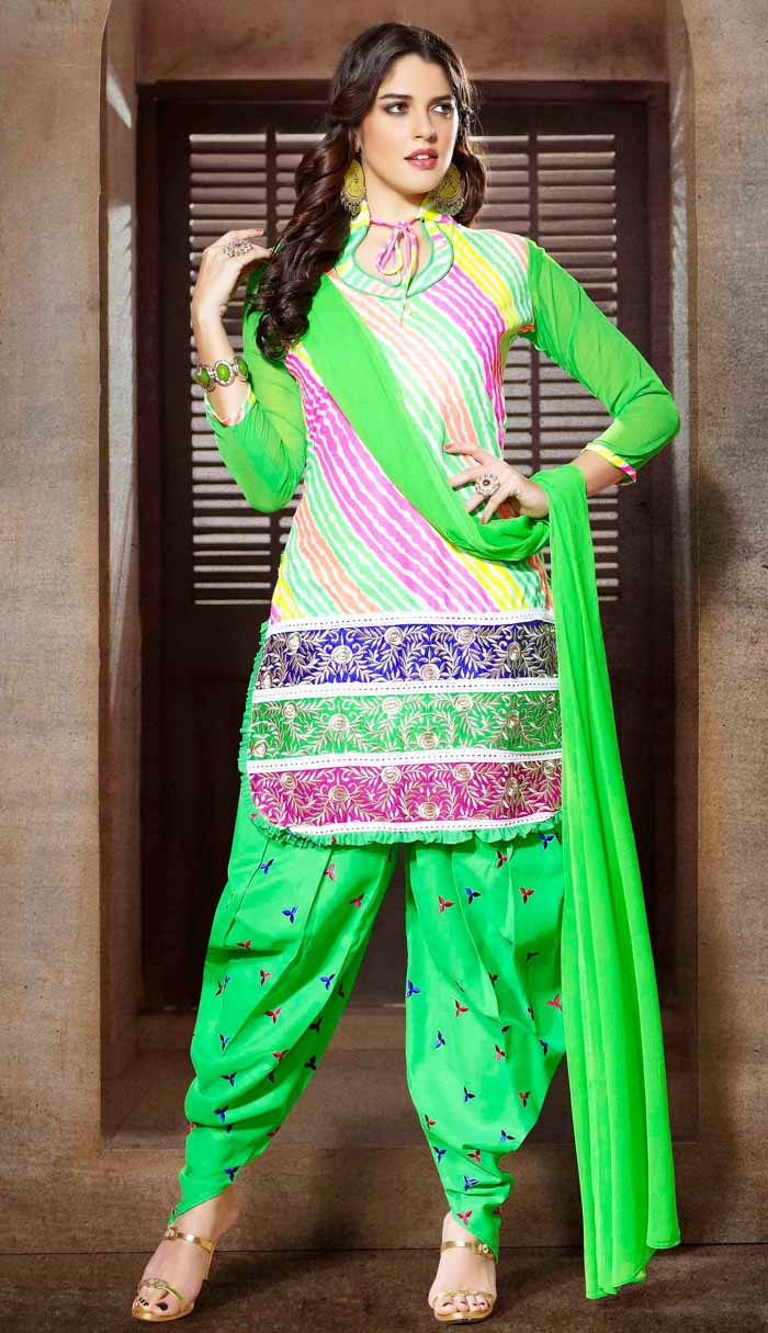 Green Fancy round bottom Shalwar Kameez