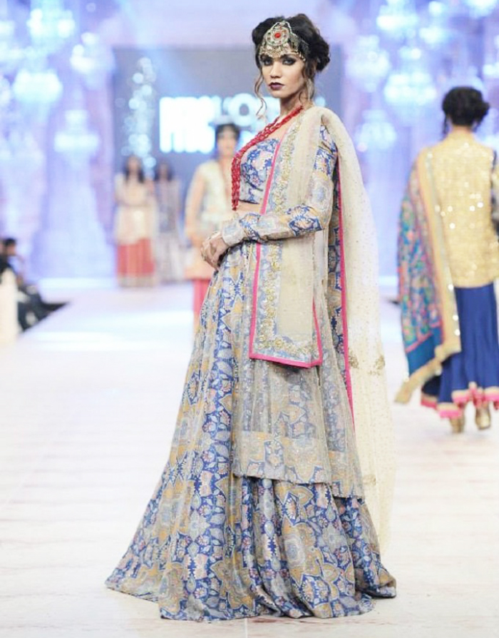 Zara Shahjahan Bridal Collection Blue Banarsi Style