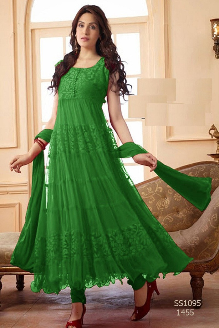 Green Color Frocks