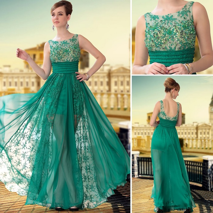Green party wear cocktail dresses and gowns