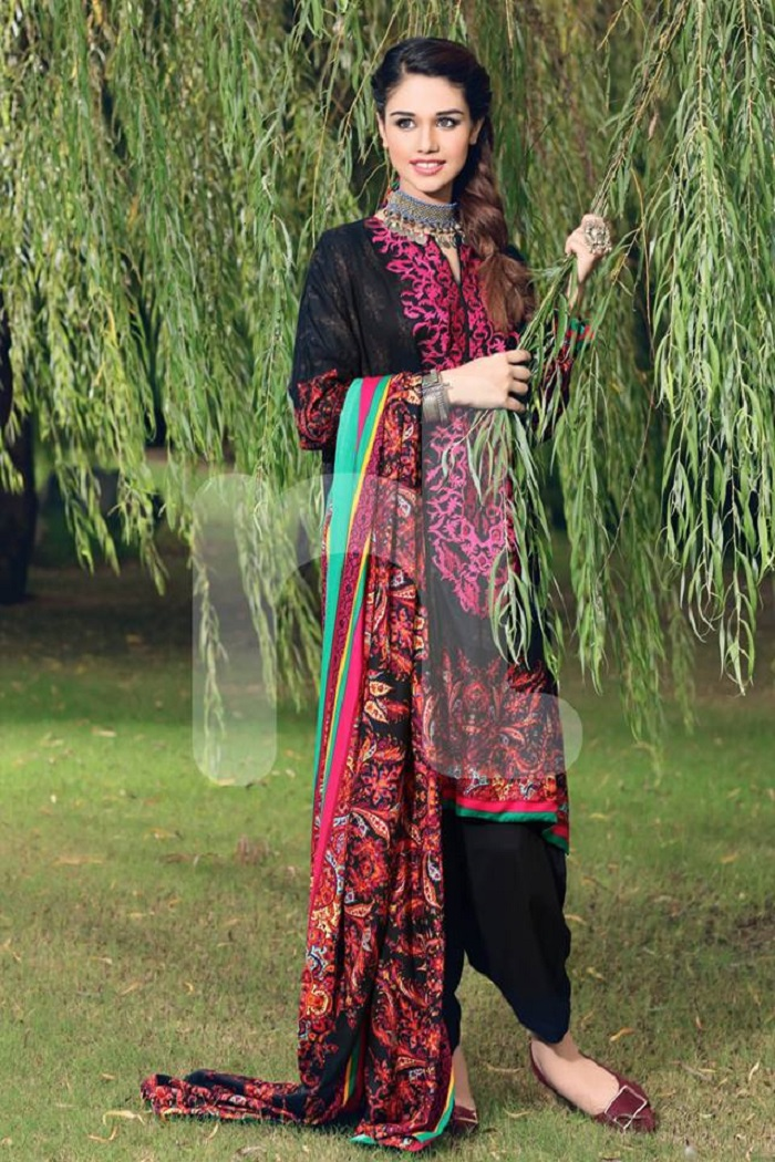 Black multi prints Nishat Unstitched winter prints