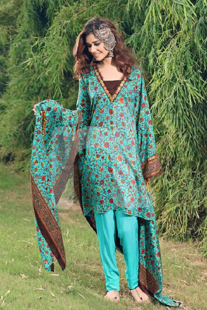 Aqua Blue Nishat Unstitched winter prints