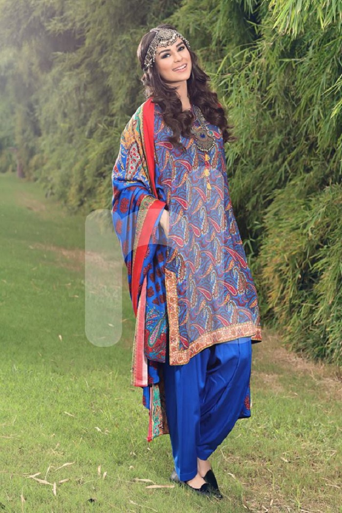 Electric Blue Nishat Unstitched winter prints