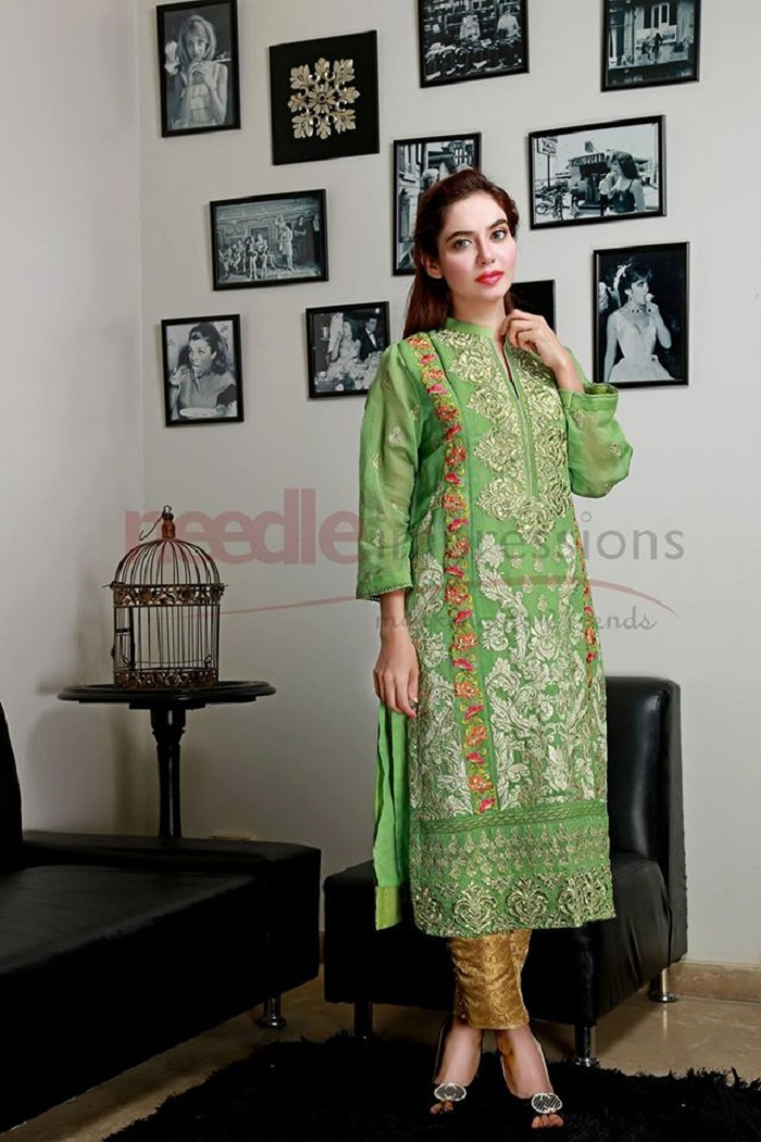 Green embroided Stylish Party Wear Winter Dress by Needle Impressions