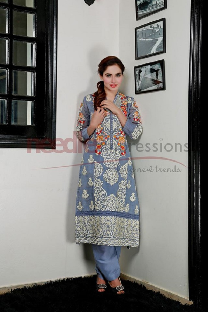 Elegant Grey embroided Stylish Party Wear Winter Dress by Needle Impressions