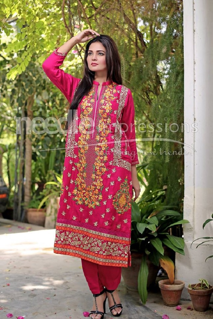 Pink embroided Stylish Party Wear Winter Dress by Needle Impressions