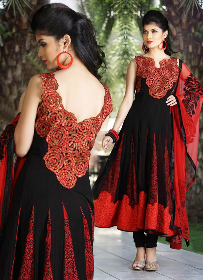 kalidar embroidered indian frocks for party