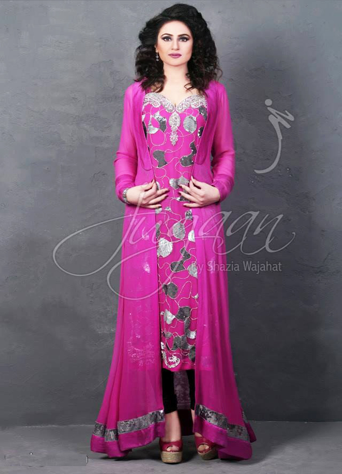 pakistani long tail style dresses for party