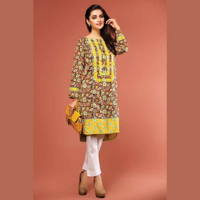 Floral printed brown shirt with yellow embroidered neck