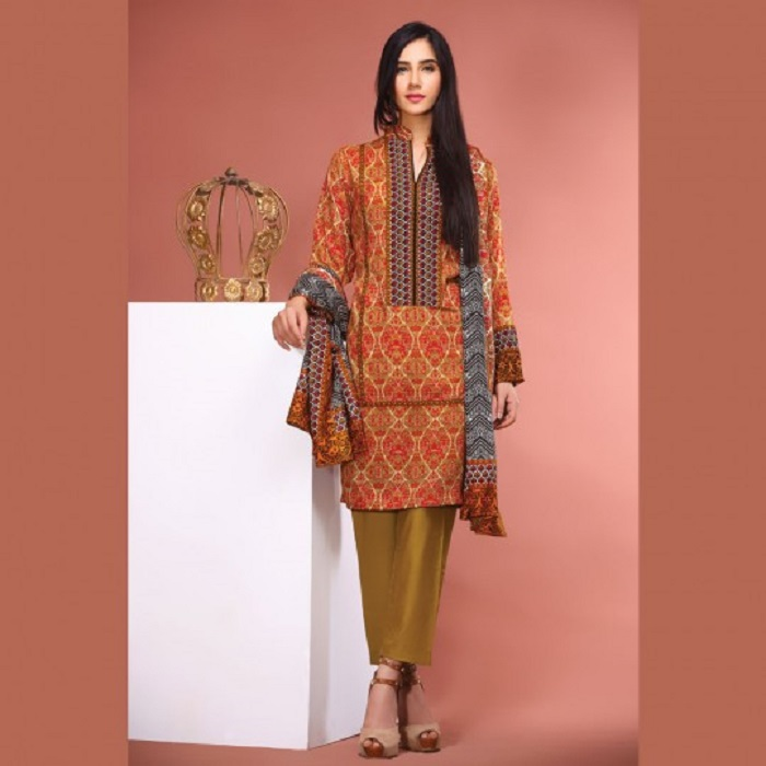 Printed Orange 3-piece fall suit by warda