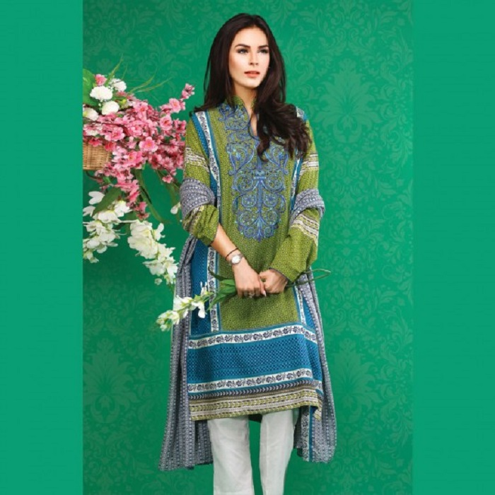 Sea green shirt with blue embroidery neck 3-piece fall suit by warda