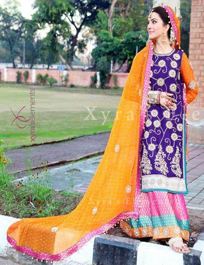 long shirt with lehenga bridal mehndi dress