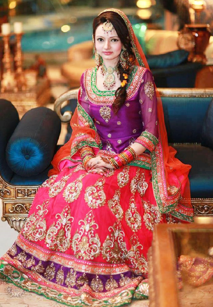 Purplish Choli with Shocking Pink Lehnga Mehndi dresses