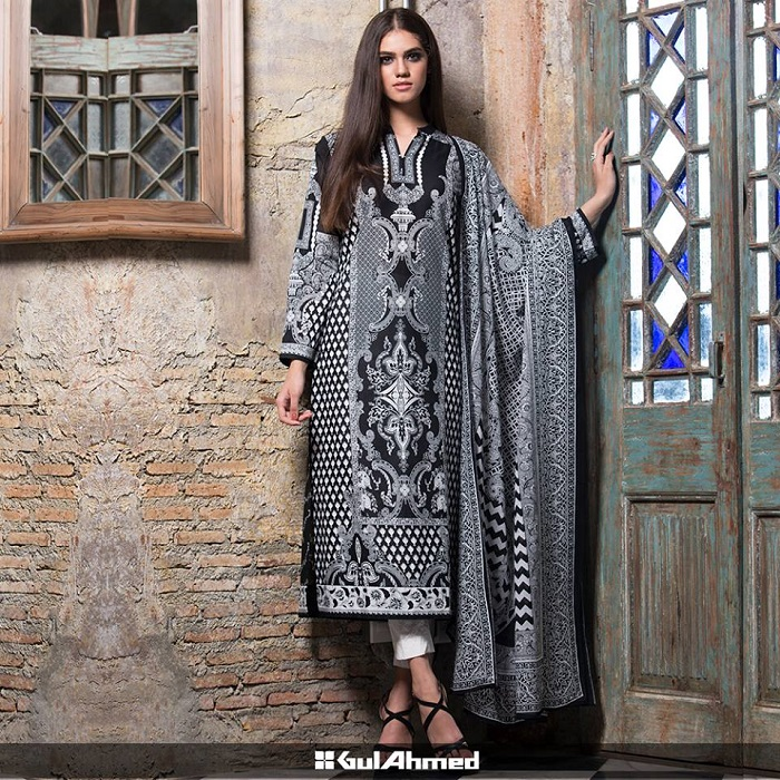 Gul Ahmed Black and White Winter Dress