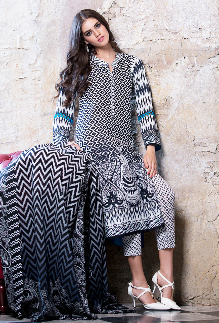 Black and White elegant dress by Gul Ahmed