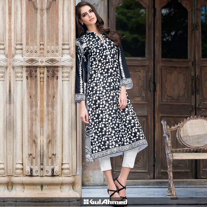 Black and White classy casual wear Gul Ahmed attire for winters