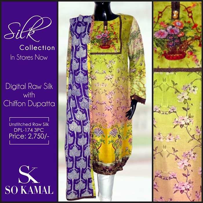 yellow Digital Raw Silk 2-piece