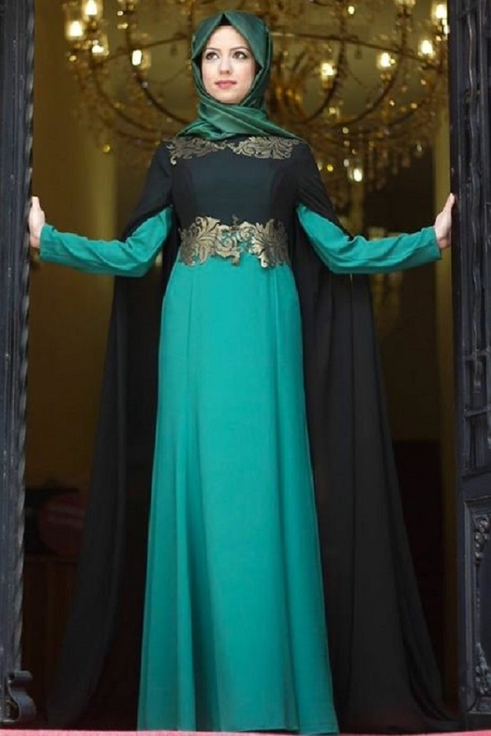 Blue Party Wear Formal Abaya 2017