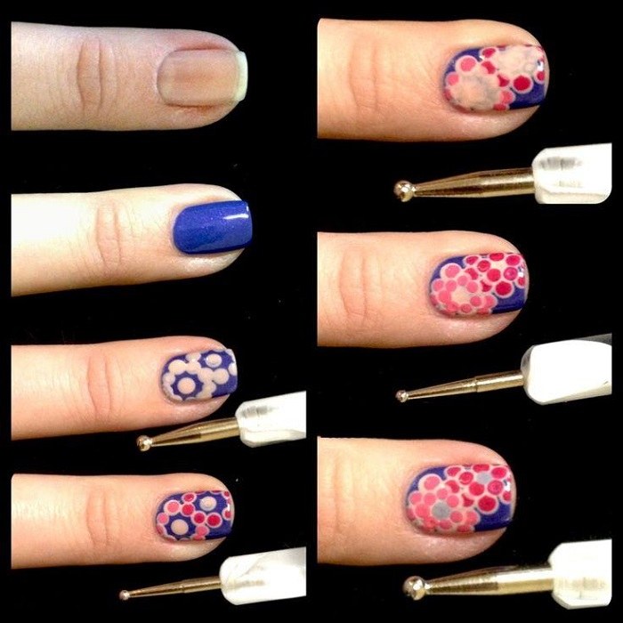 Floral Nail Art with tools