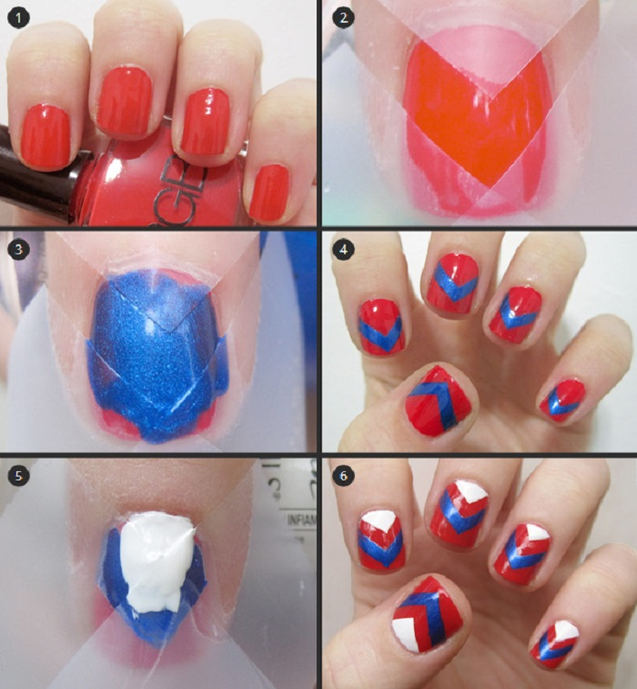 Red and blue Nail tap art