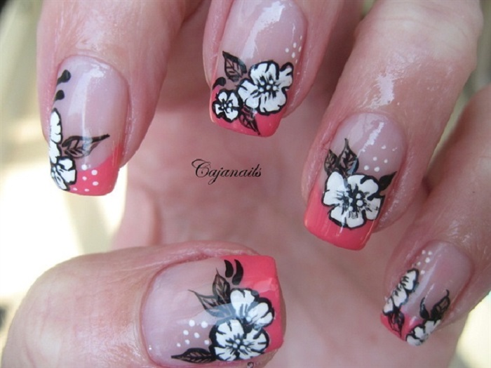 White Floral and petal Nail Design with Tools