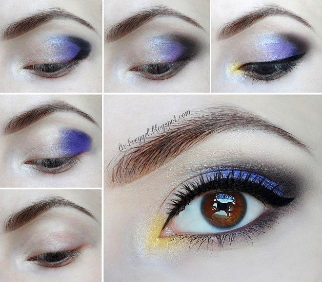 blue party eye makeup with yellow touch