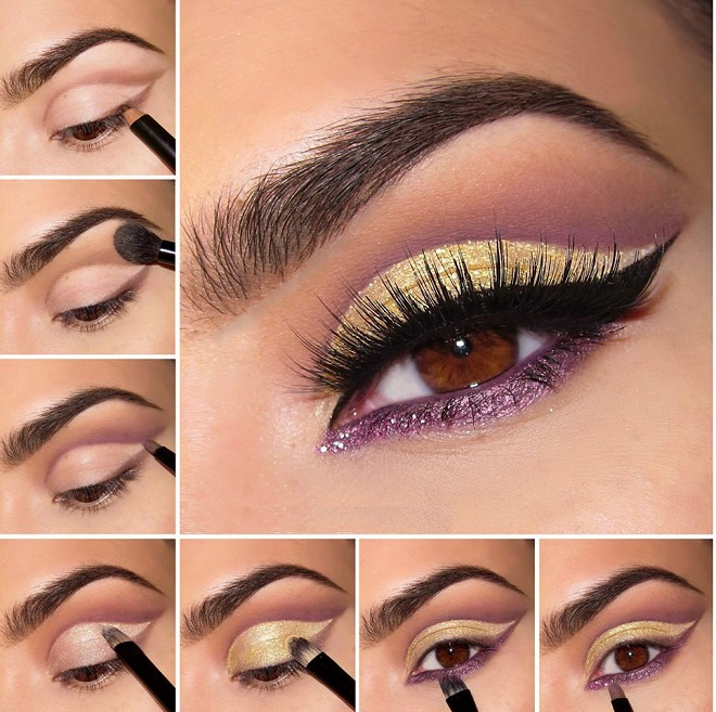 light yellow party eye makeup