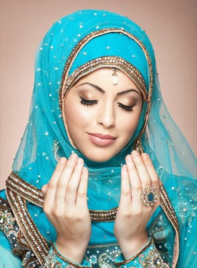 elegant hijab style for brides