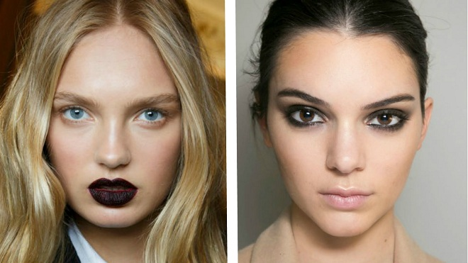 winter makeup trend of dark lip color and light eyes