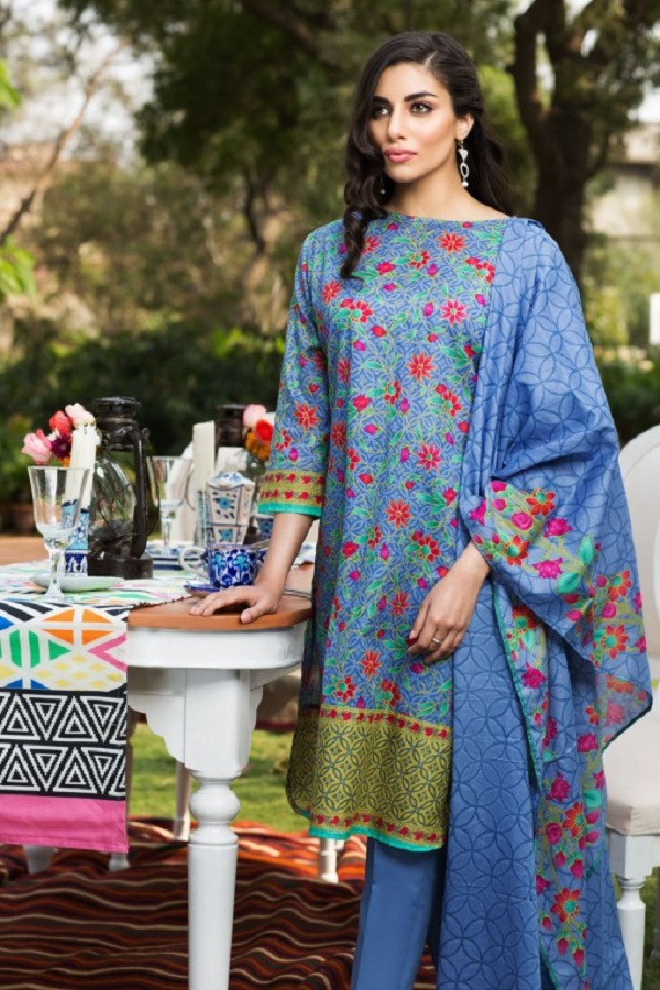 Khaadi summer blue and pink dress (JADE)