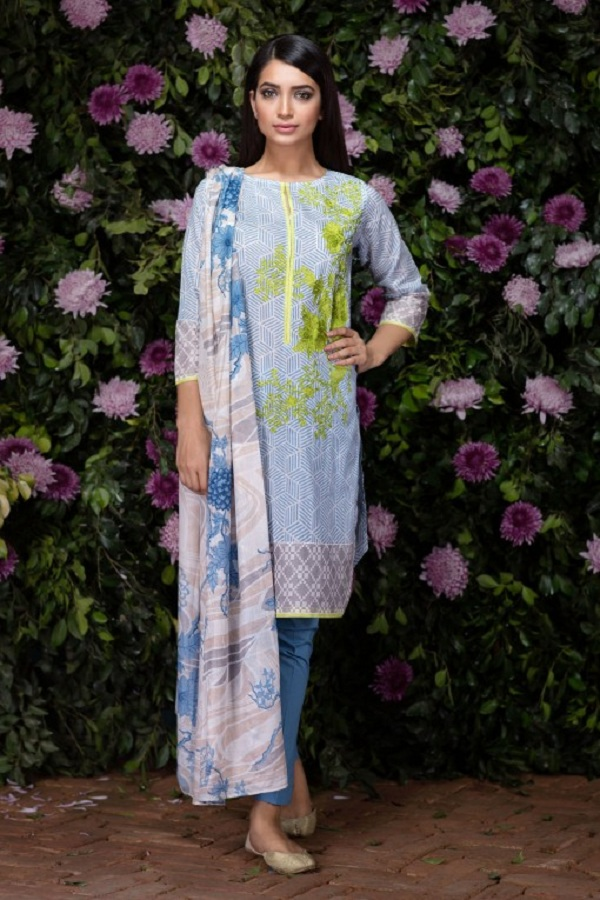 Khaadi summer blue dress with green embroidery (BOLD IMPRESSIONS)