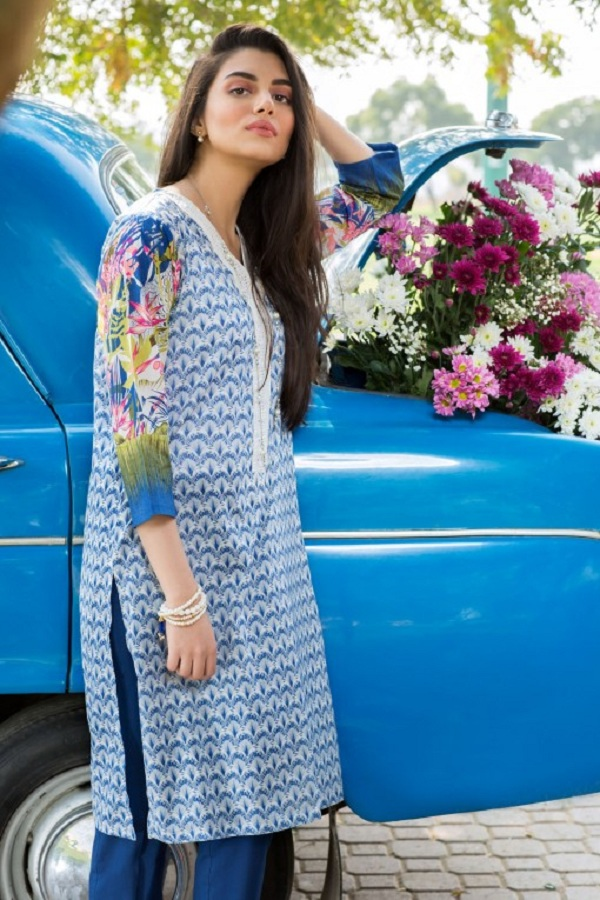 Khaadi summer blue print with colored sleeves (WET ON WET PAINT)