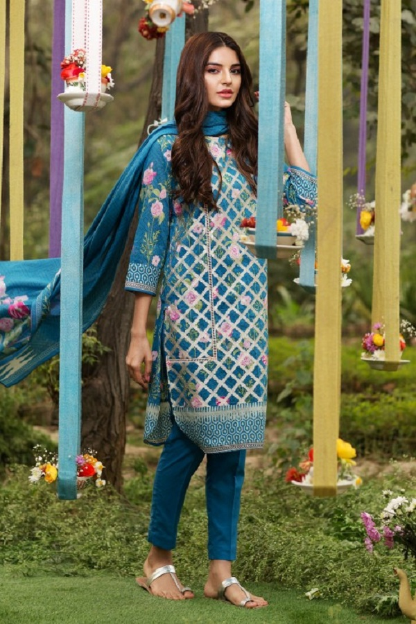 Khaadi summer blue shombus style floral dress (GEOMETRIC FUSION)