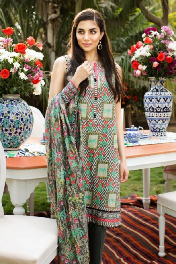 Khaadi summer grey and green block print (JADE)