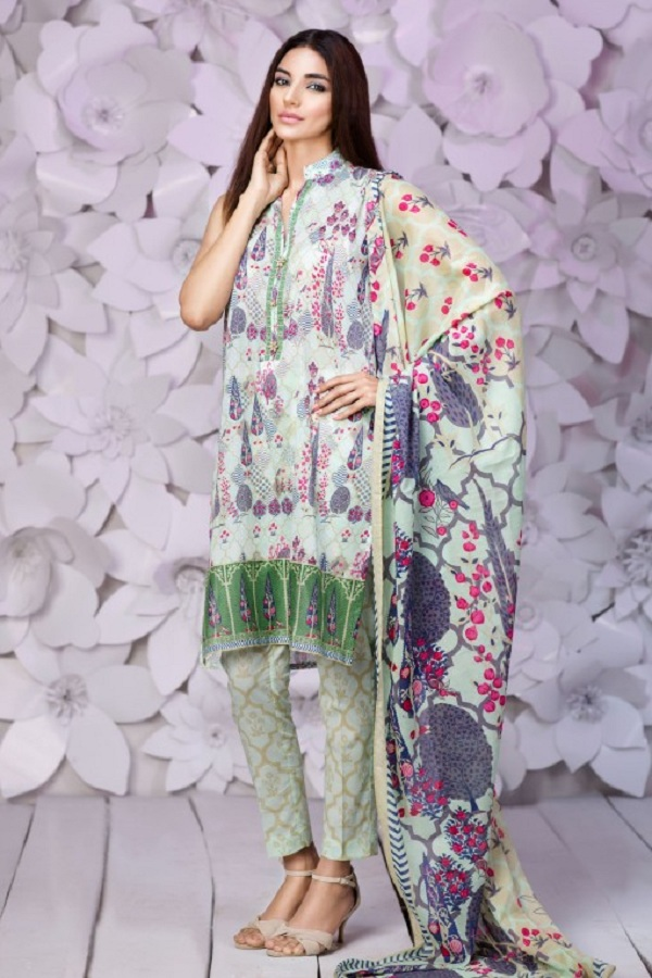 Khaadi summer grey dress with colors (INDIAN HARVEST)