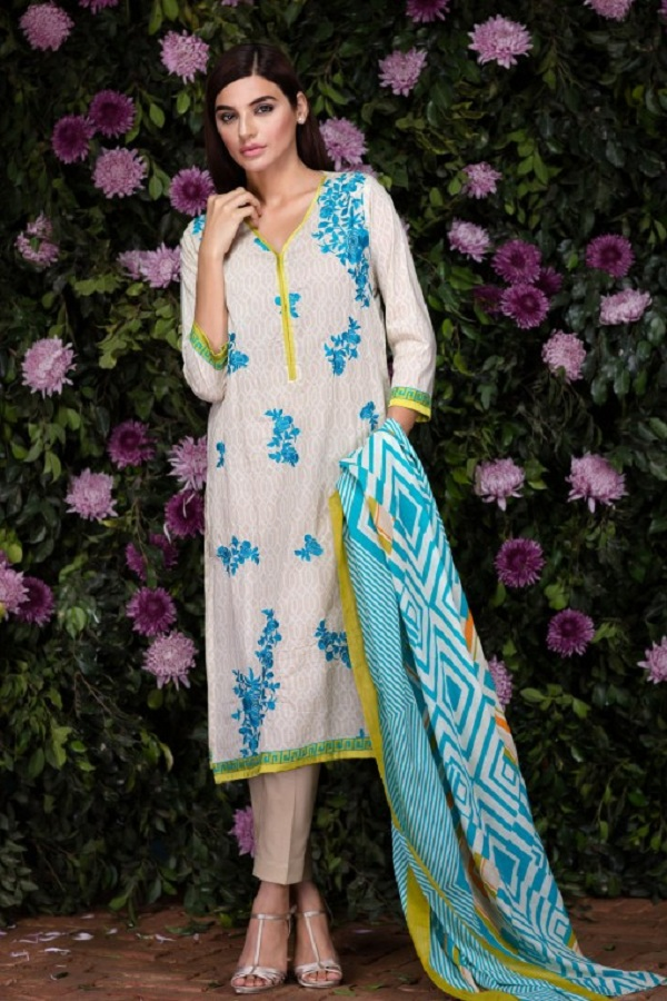Khaadi summer ophwhite with blue embroidery (BOLD IMPRESSIONS)