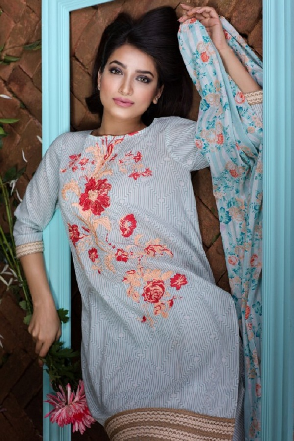 Khaadi summer sky blue dress with floral pink embroidery (BOLD IMPRESSIONS)