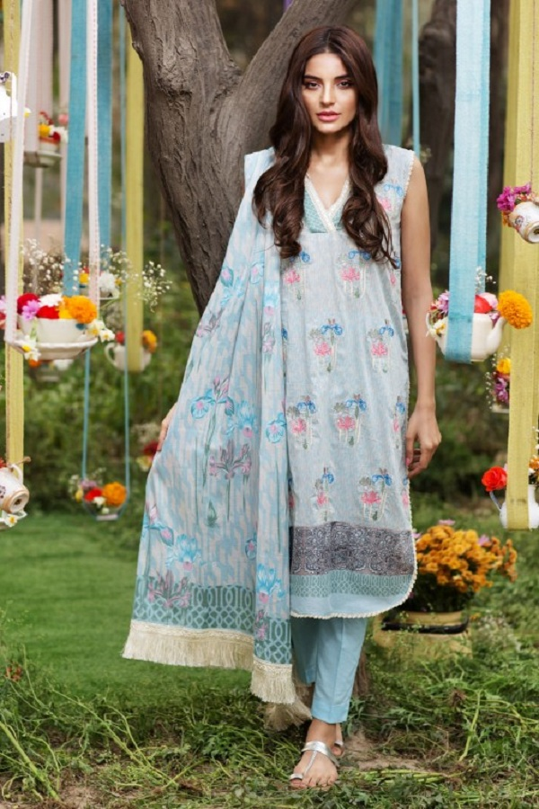 Khaadi summer sky blue wih pink flowers dress (GEOMETRIC FUSION)