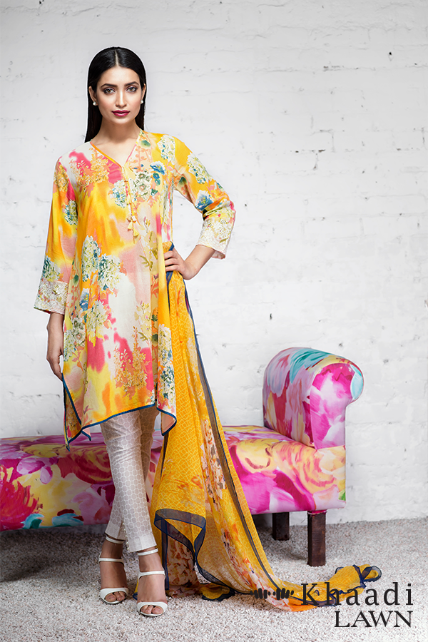 Khaadi summer yellow abstract divine (POPS OF PINK)